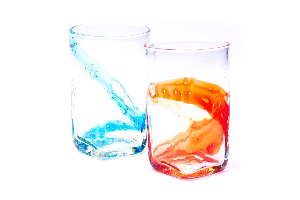オーシャン雫グラス(オレンジ×水)2個セット