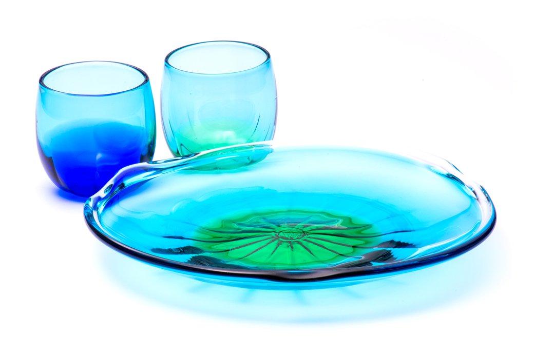 珊瑚皿&グラス(青水×緑水)2個セット
