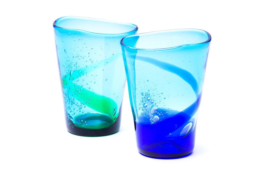 泡盛グラス(青水×緑水)2個セット