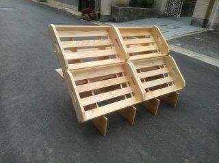 マルシェ用の傾斜台4箱用x1 + 木箱Sx4 セット *在庫あり(翌日発送)