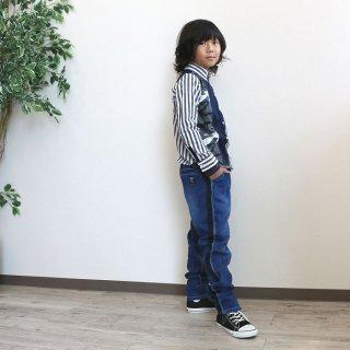 ニット風デニムサイドラインパンツ / D2144 / 130�-160�【DEMS】