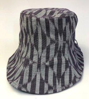 女性帽子 ブロック七宝紫