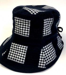 女性帽子 格子絣 紺