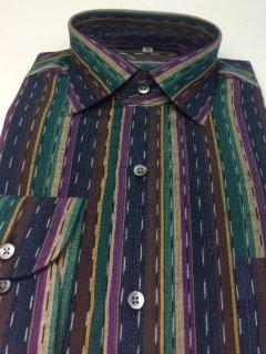 ミックスストライプ絣 紫グリーン Lサイズ
