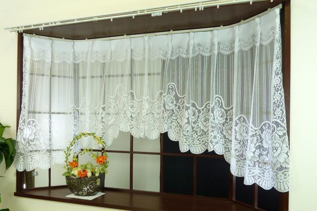 出窓用カーテン イングリット アーチタイプの出窓用デザインレースカーテン アウトレットカーテン