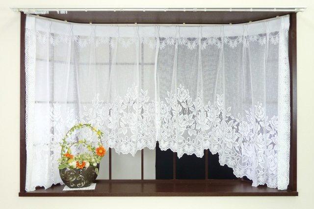 出窓用カーテン ローズ アーチタイプの出窓用デザインレースカーテン アウトレットカーテン