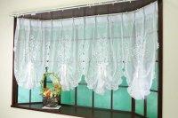 出窓用カーテン マルセイユ ピーコック4スワッグスタイルのおしゃれでかわいい出窓用デザインレースカーテン