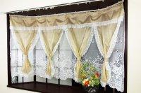 出窓用カーテン 高級オーガンジー素材を使用した4スワッグ2重セパレーツタイプの出窓レースカーテン 【オスロ】 送料無料