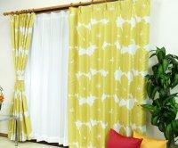 オーダーカーテン 通販 おしゃれな北欧風花柄遮光カーテン ブロムスト オーロライエロー色