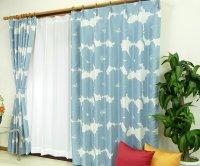 オーダーカーテン 通販 おしゃれな北欧風花柄遮光カーテン ブロムスト スターリングブルー色