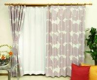オーダーカーテン 通販 おしゃれな北欧風花柄遮光カーテン ブロムスト スモークピンク色