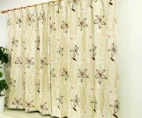 激安アウトレット既製カーテン|遮光カーテン オーナメント花柄 既製ドレープカーテン [ポーセリア]