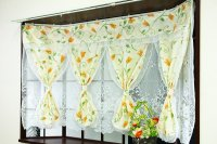 出窓カーテン 2重カーテン セパレーツカーテン [トレモロ] オレンジ ブルー 花柄 送料無料