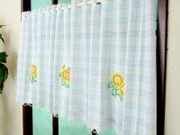 激安オーダーカフェカーテン 向日葵柄刺繍 50cm丈 幅41サイズ カフェカーテン通販