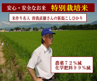 29年度産 曽我直樹さんの特別栽培米 新潟コシヒカリ( 農薬72%減・化学肥料99%減 ) 1kg