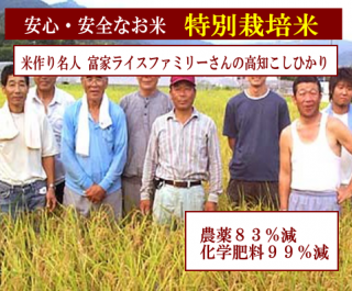 29年度産 富家ライスファミリーさんの 特別栽培米 高知コシヒカリ(農薬83%減・化学肥料99%減)1kg
