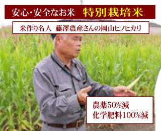 30年度産 藤澤農産 特別栽培米 岡山ヒノヒカリ(農薬50%減・化学肥料100%減)1kg