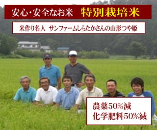 30年度産 サンファームしらたかさんの 特別栽培米 山形つや姫(農薬50%減・化学肥料50%減)1kg