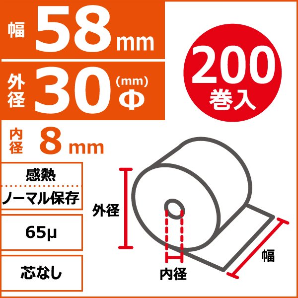 感熱ノーマル保存 58mm×30Φ×8mm 65μ 芯なし 200巻入(20巻/箱×10)