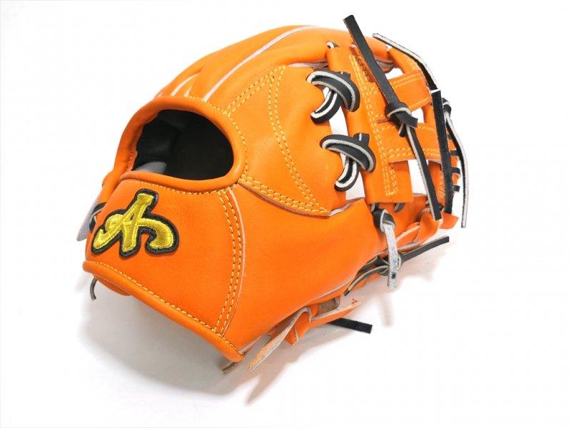 野球 ブランドA BrandA 硬式軟式兼用グラブ 内野手用 906C46I 右投用 オレンジ×ブラック 約28.5cm