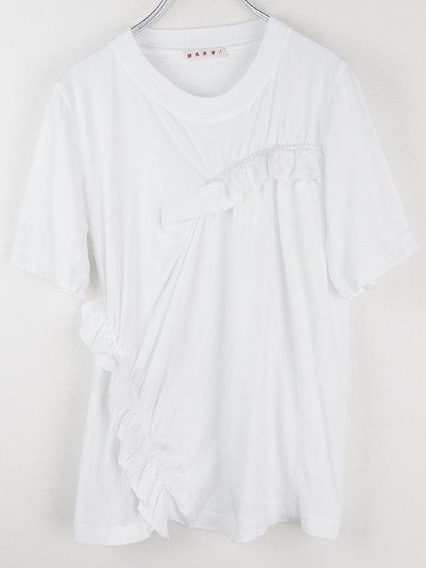 18SS アシンメトリーギャザーTシャツ