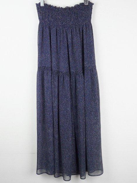 18SS ドットプリントギャザーロングスカート