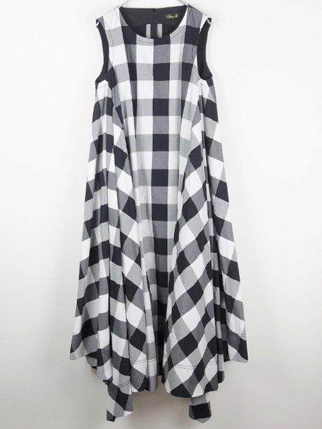 ブロックチェックロングドレス