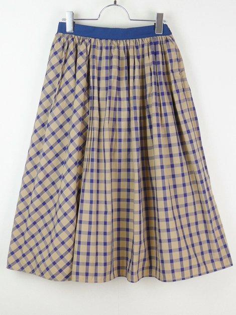 16SS コットンチェックギャザースカート