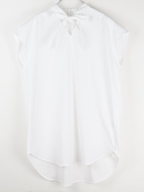 18SS フレンチスリーブリボンシャツ(ホワイト)