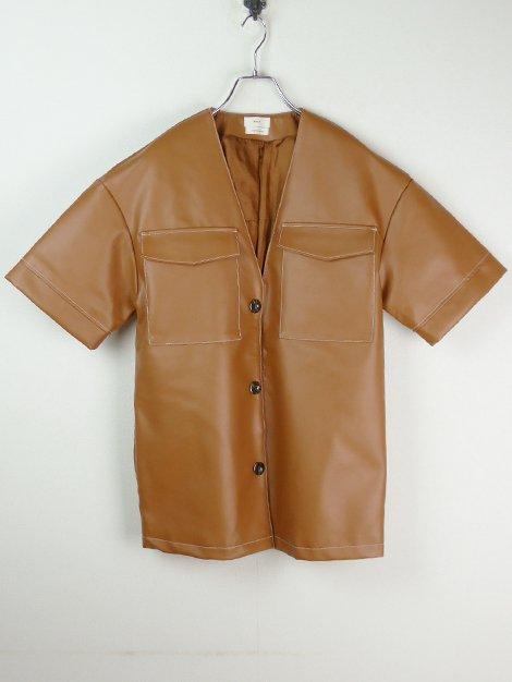 20SS Eco leather overshirt jacket