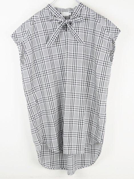 18SS フレンチスリーブリボンシャツ(チェック)