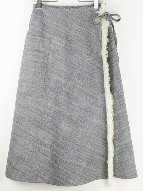 18AW ウールフリンジラップスカート