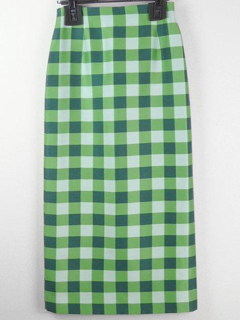 ブロックチェック ロングタイトスカート