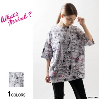『What's Michael?』コミック総柄 ビッグTシャツ(男女兼用)