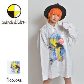 フラワーペイントシャツビッグシャツ(男女兼用)