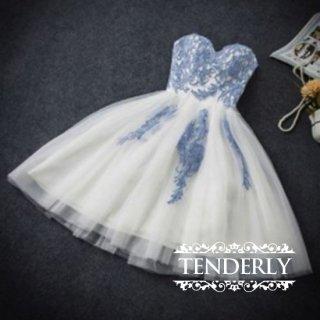 花柄刺繍とチュールレースが豪華♪主役級エレガントドレスワンピース 水色