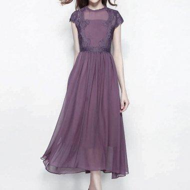 胸下切替 レースが綺麗なシフォンフレアロングドレスワンピース 紫