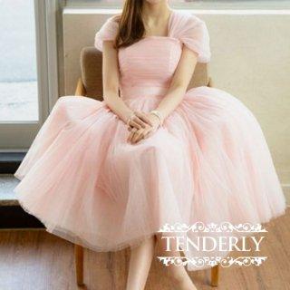 ふんわりエレガント♪ボリュームスカートのチュチュドレスワンピース 黒/ピンク