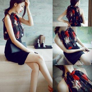 花柄シフォン&タイトスカートのドレス風セットアップ