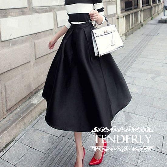 56481c41f1045 エレガントなボリューム感☆ 膝丈 フレアスカート 3色 - 韓国プチプラパーティードレス通販『TENDERLY DRESS』