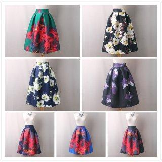 エレガントな花柄のミモレ丈 パーティスカート