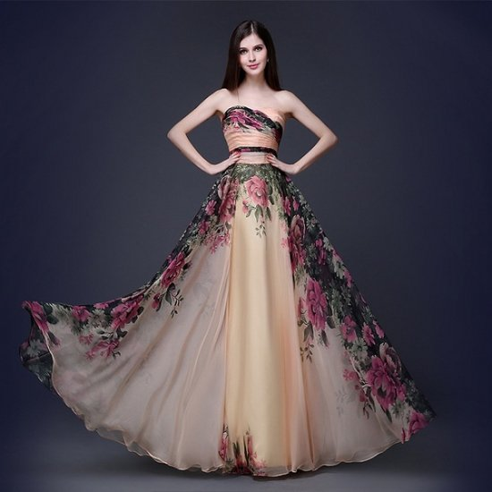 花柄シフォンの大人ベアトップ イブニング ロングドレス