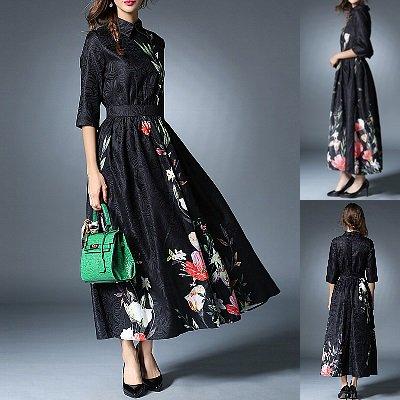 大人ブラック襟付き花柄ロングワンピース