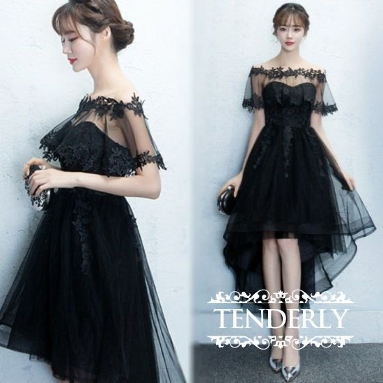 ロングフィッシュテールのパーティー黒ドレス