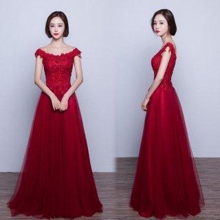 発表会にもオススメ 深紅の花柄レースが可愛いオフショルダーにもなるロングドレス