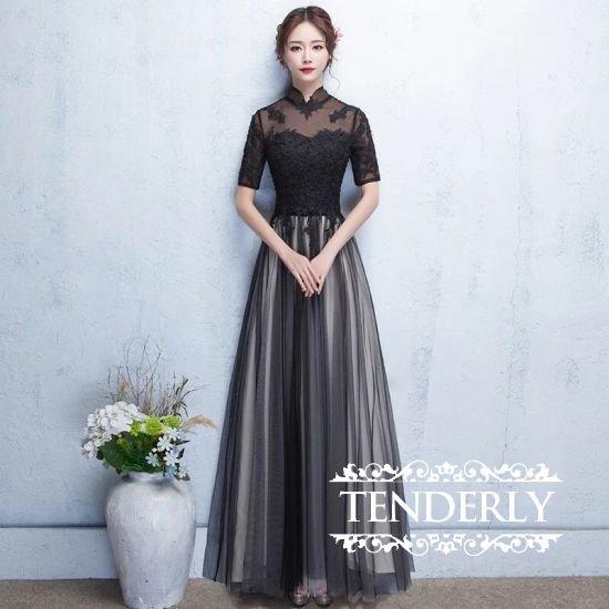 c43bb69b7a5 黒フラワーレースのハイネック半袖ロングドレス - 韓国プチプラパーティードレス通販『TENDERLY DRESS』