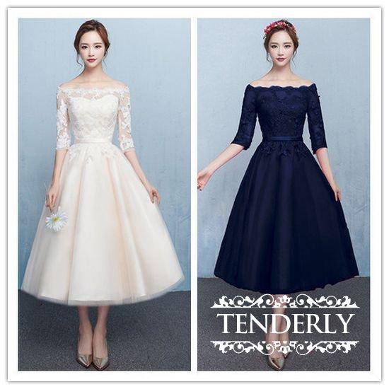 花嫁さまの二次会ドレスとしてもおすすめ ミモレ丈のオフショルダードレス