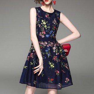 花柄刺繍のノースリーブ膝丈ドレスワンピース