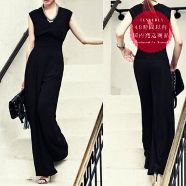 【即納】結婚式 オールインワン パンツドレス 黒