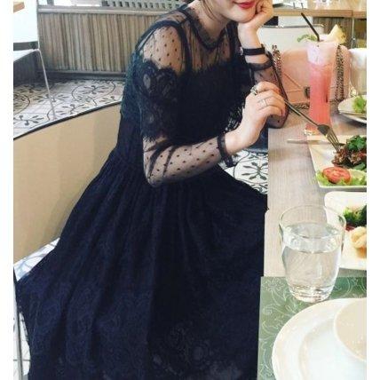 bfd6177b8d0af  即納 ロマンティックな黒レースの長袖ミモレ丈ワンピース - 韓国プチプラパーティードレス通販『TENDERLY DRESS』